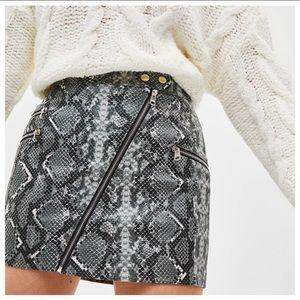 NWT Bershka Snake Animal Print Zipper Mini Skirt M